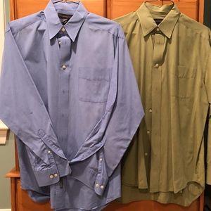 Banana Republic Blue and Khaki Dress Shirt Duo (M)